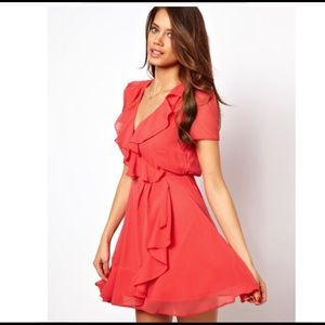 ASOS Coral Dress With Wrap Ruffle